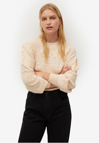 Violeta by MANGO beige Plus Size Openwork Knit Sweater F5763AA426E34DGS_1