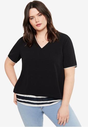 Violeta by MANGO 黑色 Plus Size Double-Layered T-Shirt 1CC47AA61EA0BAGS_1