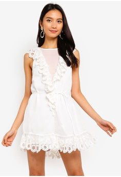 6573bdfa28c INDIKAH white Lace Ruffle Neck And Hem Sleeveless Playsuit  4196CAAD030262GS 1