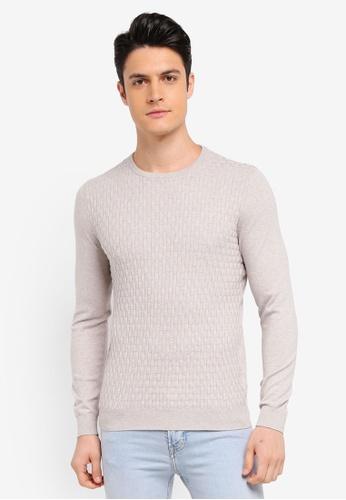 Burton Menswear London 米褐色 長袖針織上衣 2BACAAAAF2FCC5GS_1