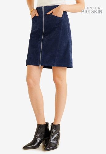 Mango 藍色 皮革短裙 24C68AAB2990A6GS_1