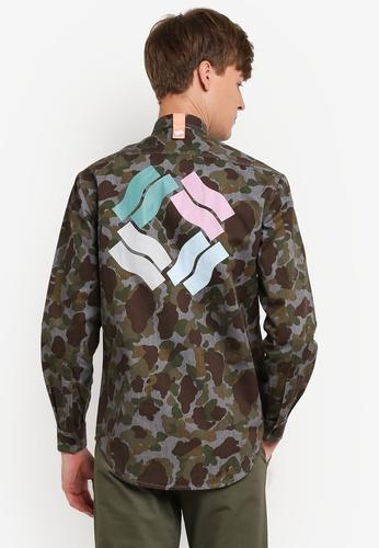 Pestle & Mortar 綠色 Unity Camo Denim Woodland Shirt PE354AA0RTCCMY_1