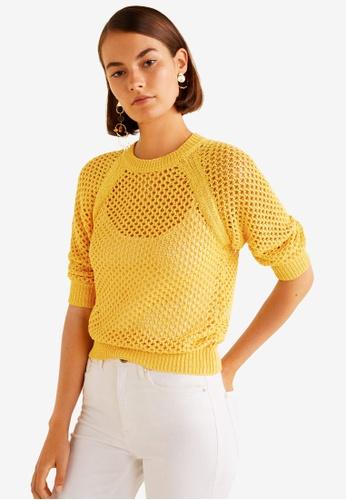 Mango yellow Open-Knit Sweater 4CEF4AACC6776CGS_1