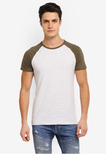 Burton Menswear London 綠色 Short Sleeve Khaki And Frost Raglan Tee Shirt BU964AA0SLFFMY_1