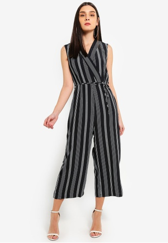 b87258d918 Shop AX Paris Black Striped Tie Waist Jumpsuit Online on ZALORA ...