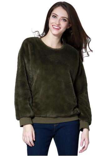 London Rag green London Rag Ladies Soft and Comfortable Fur Dark Green Sweatshirt LO360AA0GMNNSG_1