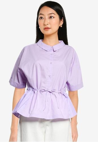 niko and ... purple Pleated Hem Shirt A47BBAA74794A3GS_1
