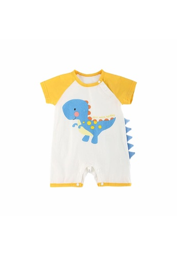 Little Kooma white and yellow Baby Dinosaur Splicing Sleeves w Spikes Romper Yellow ED464KAD46948EGS_1