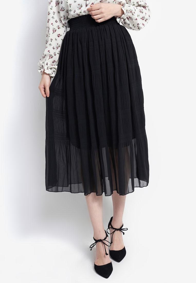 Pleated Midi Skirt with Gathered Waist