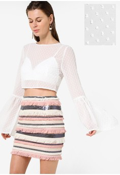 MISSGUIDED  Dobby Bell Sleeve Blouse