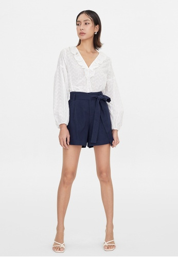 Pomelo blue Tie Front Belted Shorts - Navy 38B46AA932349CGS_1