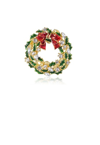 Glamorousky white Fashion and Elegant Plated Gold Ribbon Garland Brooch with Cubic Zirconia 6865FAC2DD16ACGS_1