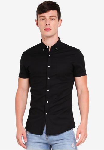 1e08e23e6 Topman black Black Muscle Short Sleeve Oxford Shirt 6E834AA8534847GS_1