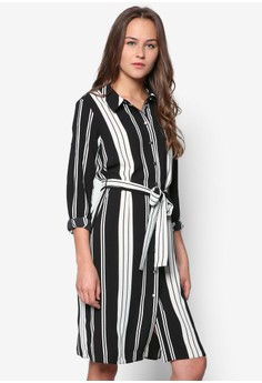 Petite Monochrome Stripe Shirt Dress