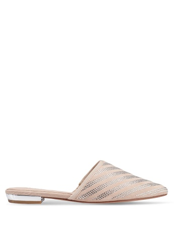 ALDO 米褐色 尖頭鑽飾穆勒鞋 AF02BSHD408CD0GS_1