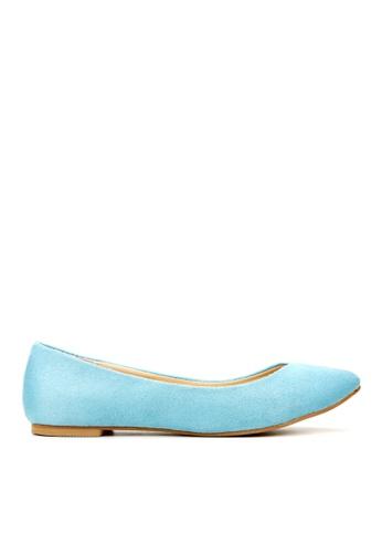 KissXXX 藍色 時尚心機V型淺口舒適平底休閒鞋 KI603SH09MSETW_1