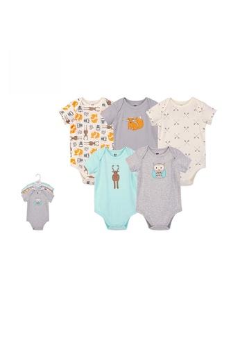 Little Kooma grey Hudson Baby Bodysuit 5pc Set Short Sleeve Forest Neutral 59979 95CA3KA7CC12CDGS_1