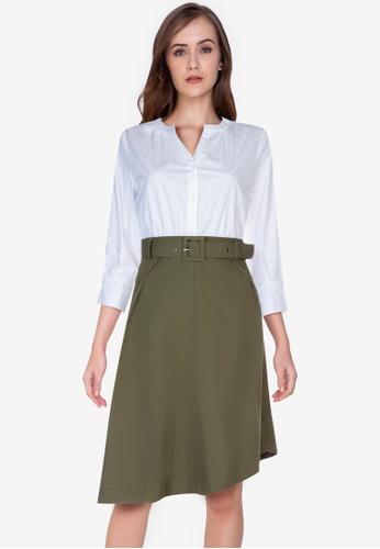 ZALORA WORK multi Notch Neck Contrast Fabric Dress 2793BAAC76BA7AGS_1