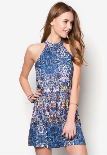 高領削肩印花寬擺洋裝,zalora 心得 服飾, 服飾