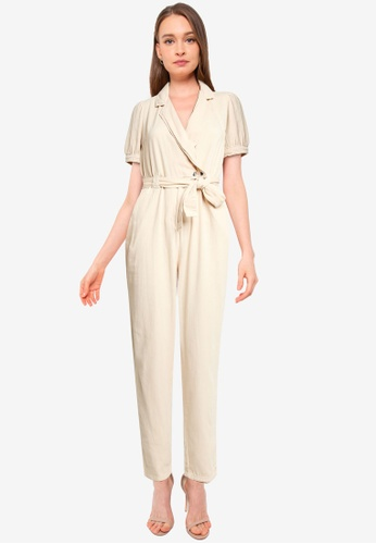 Miss Selfridge white Petite Ivory Puff Sleeve Jumpsuit 91A9AAA590AECCGS_1