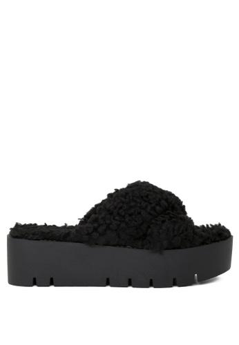 London Rag black Black Fur Cross Strap Flatform Sandals D2939SH319ABC3GS_1