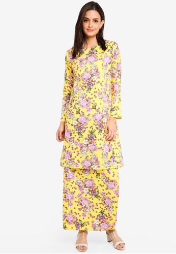 Gene Martino yellow Floral Cotton Kurung BAE5DAA6EE07C5GS_1