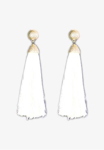 Zaryluq white and beige Long Tassel Earrings in Dune C0175ACE8ABA03GS_1