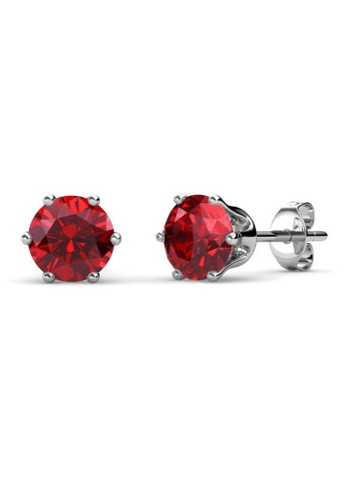 Her Jewellery red Birth Stone Earrings (July, White Gold) - Made with premium grade crystals from Austria E3397ACACADD7AGS_1