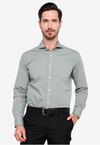 Sacoor Brothers green Slim fit cotton elastane comfort poplin shirt in garment dye 333ECAAAF577A1GS_1