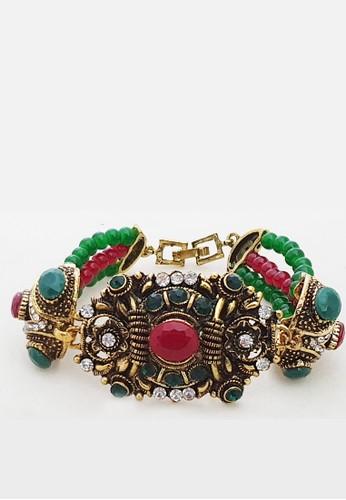 San Marco red and green and gold Ashka Bijoux Rhinestones Bracelet 8E9ADAC39EB98CGS_1