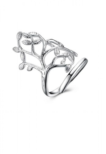 Glamorousky silver Fashion Personality Tree Adjustable Split Ring A949CACA117078GS_1