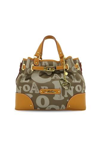 Carlo Rino Medium Signature Brown Bucket Bag