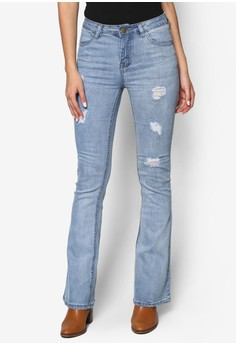 Light Wash Distressed Slim Flare Jeans