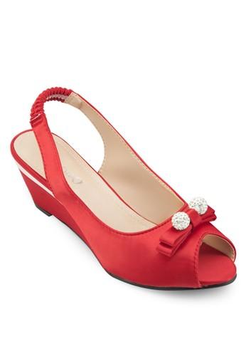 蝴蝶結露趾楔型鞋、 女鞋、 楔形涼鞋AlfioRaldo蝴蝶結露趾楔型鞋最新折價
