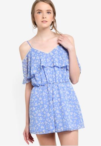 01b9e83f77d7 Buy Miss Selfridge Petite Blue Floral Playsuit Online on ZALORA ...