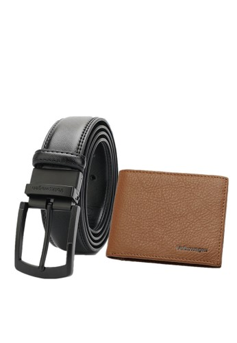 Volkswagen black and brown Genuine Leather RFID Wallet & 35mm Belt 15EDDAC5B9E9E2GS_1