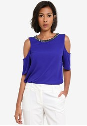 Dorothy Perkins blue Cobalt Embellished Neck Top DO816AA0S7ACMY_1