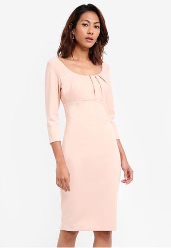Goddiva pink Pleated Front Midi Dress 80C1BAA7C120EBGS_1