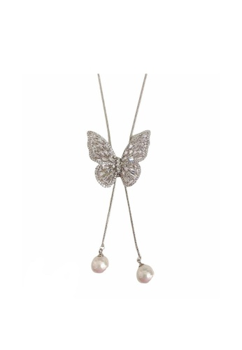 LOVE AND LIFE white Love & Life Butterfly Lovers Necklace Premium Crystals 485ACAC8EB4F6BGS_1