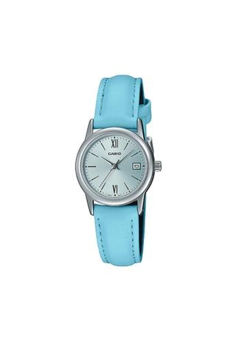 Casio blue CASIO GENERAL LTP-V002L-2B3UDF LIGHT BLUE LEATHER WOMEN'S WATCH 86276ACEDBD578GS_1
