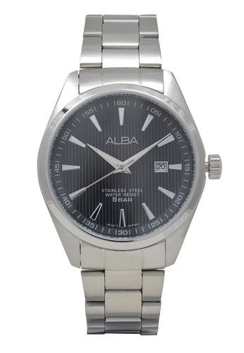 Alba silver ALBA Jam Tangan Pria - Silver Black - Stainless Steel - AG8387 EAAF5AC8DE245CGS_1