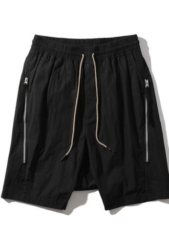 MUSIUM DIV black Zip detail drawstring drop crotch shorts 5FC6BAA03ABE78GS_1