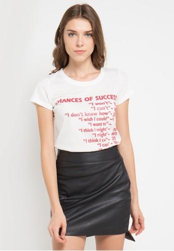 MEIJI-JOY white and multi Print Chances Of Success short sleeve Tshirt ME642AA0VRK2ID_1