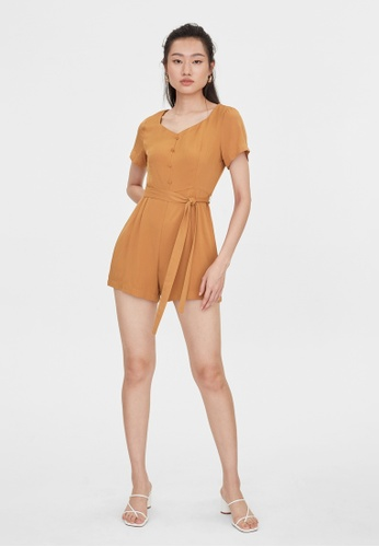 Pomelo brown Tied Waist Romper - Brown A8FC6AAFA43D78GS_1