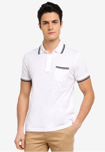 Brooks Brothers white and multi Red Fleece Slub Pocket Polo Shirt 1A5D8AA8572B21GS_1