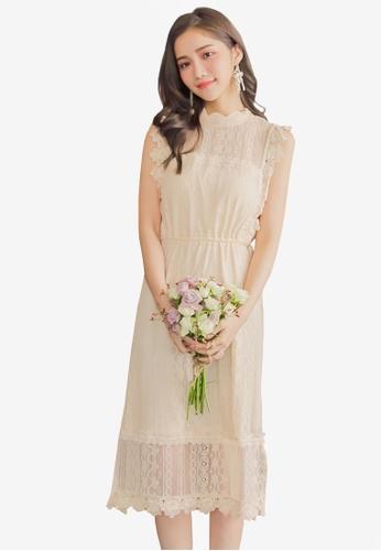 Yoco beige Laced Tie Detail Shift Dress 3E6EAAA843297EGS_1