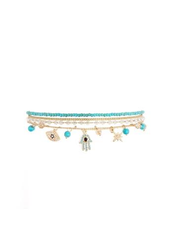 HIPANEMA blue and multi Medium multi chain beaded bracelet Amulette turquoise 12EEFACF29A67FGS_1