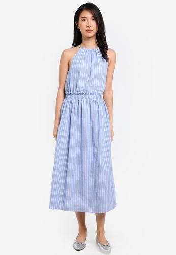 ZALORA blue Halter Neck Midi Dress 98D3EAA7B2CF14GS_1