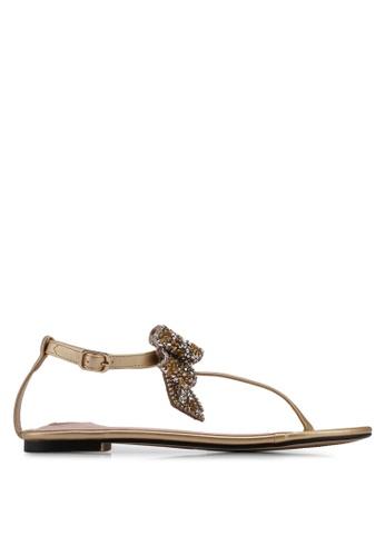 Velvet gold Bow Detail Sandals 02D59SH12B841FGS_1