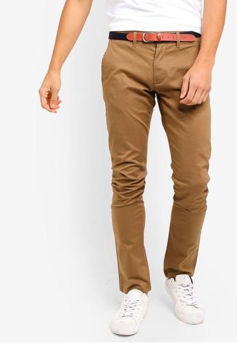 Selected Homme 褐色 修身奇諾褲 E7897AAC3AC2F7GS_1